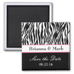 Save the Date Wedding Magnet Black White and Pink Magnet
