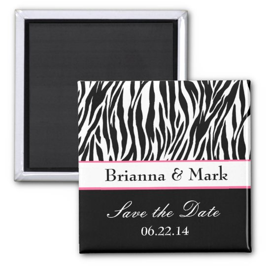 Save the Date Wedding Magnet Black White and Pink