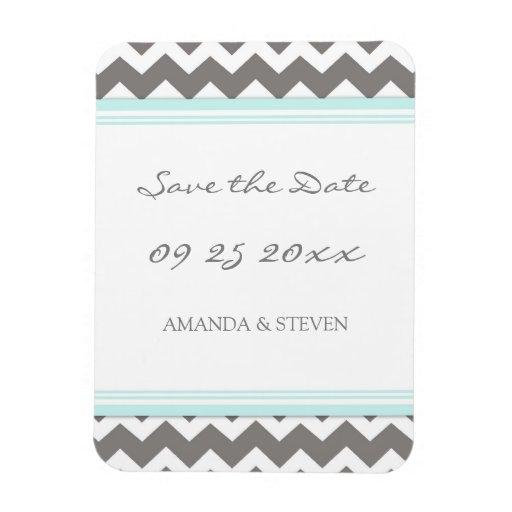 Save the Date Wedding Magnet Blue Grey Chevron