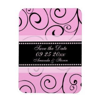 Save the Date Wedding Magnet Pink Black