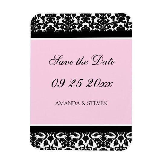 Save the Date Wedding Magnet Pink Damask