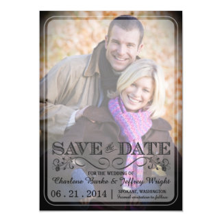 Save the Date Wedding Magnetic Vintage Photo Magnetic Card