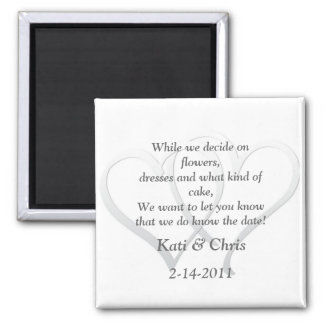 Save the date Wedding magnets two hearts poem
