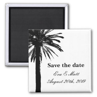 Save the date wedding magnets with palm tree image