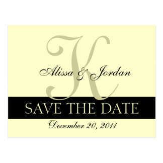 Save the Date Wedding Monogram Announcement Card Postcards