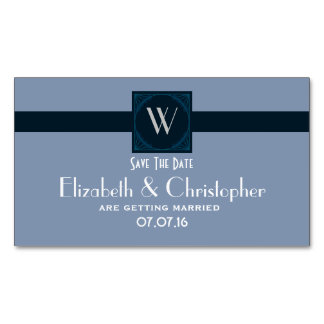 Save The Date Wedding Monogram Initial Magnetic Business Card