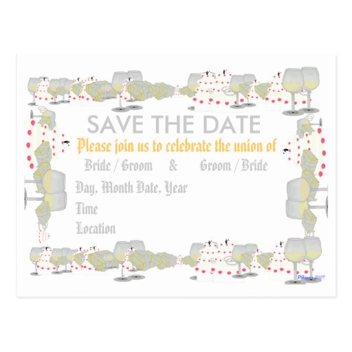Save the Date Wedding Montage Announcement Post Card
