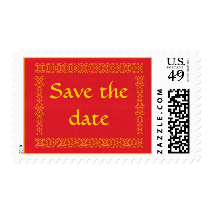 Save the date, Wedding Postage, Red and Gold Stamp