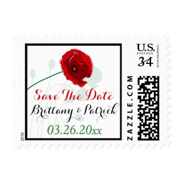 Save The Date Wedding Postage | Red Poppy