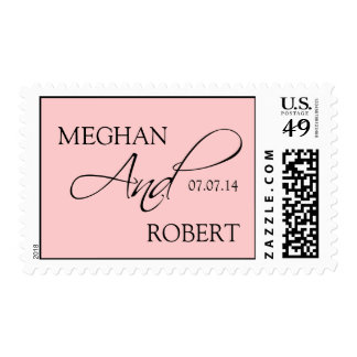 Save the Date Wedding Postage Stamps Names Pink