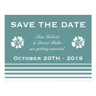 Save the date wedding postcard | Hibiscus flower