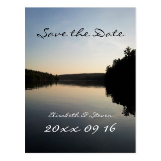 Save the Date Wedding Postcard Lake at Sunset