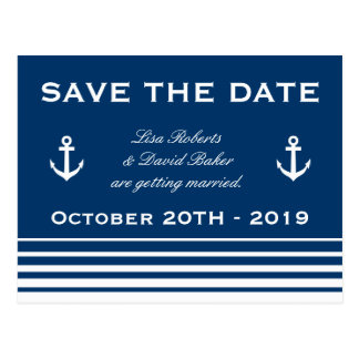 Save the date wedding postcard Nautical theme
