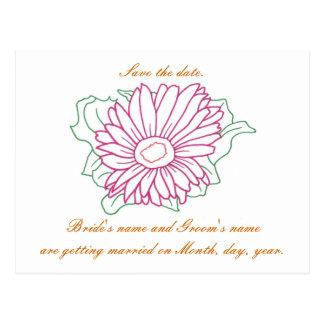 Save the date, wedding postcards, fuchsia daisy