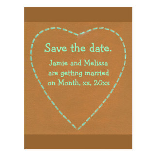 Save the date wedding postcards, Turquoise Heart