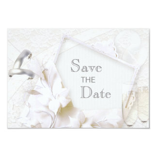 Save The Date Wedding Rings & Champagne Flutes Card