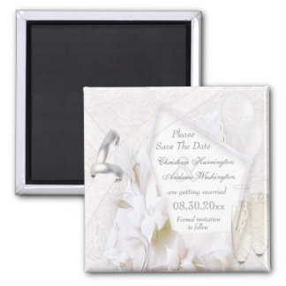 Save The Date Wedding Rings & Champagne Flutes 2 Inch Square Magnet