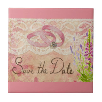 SAVE THE DATE WEDDING ROMANTIC PINKS ANNIVERSARY M CERAMIC TILE