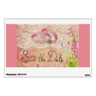 SAVE THE DATE WEDDING ROMANTIC PINKS ANNIVERSARY M WALL DECAL