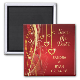 Save the Date Wedding Romantic Red Gold Hearts Magnet