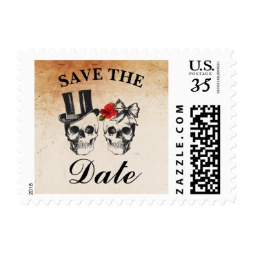 Wedding Themed Save The Date Wedding Rose Skulls Postage Lights