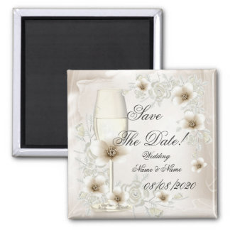 Save The Date Wedding Sepia Cream Floral Blossoms Refrigerator Magnets