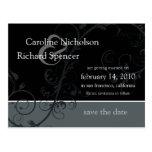 Save the Date Wedding Silver Flourish Postcard
