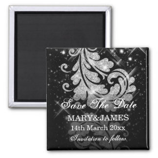 Save The Date Wedding Silver Glitter Floral Swirls 2 Inch Square Magnet