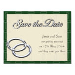 Save the Date Wedding Silver Rings Emerald Pearl Card