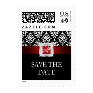 Save the Date Wedding Stamp Red White Black Jewel