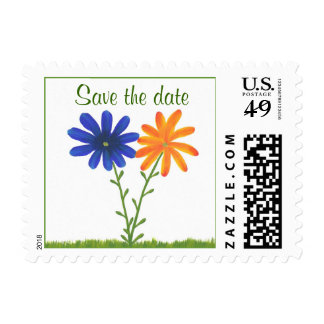 Save the date, wedding stamps blue orange flowers