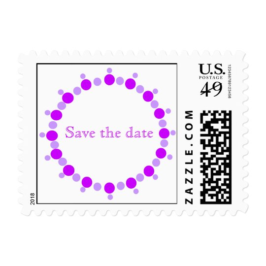 Save the date, wedding stamps, purple dots ring postage