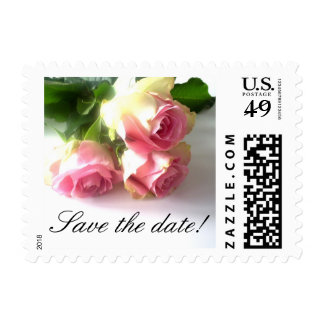 Save the date wedding stamps with pink rose flower