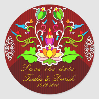 save the date wedding sticker asian style