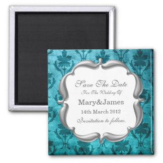 Save The Date Wedding Vintage Floral Pattern Blue Magnet