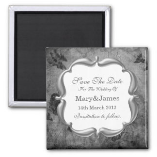 Save The Date Wedding Vintage Floral Texture Gray 2 Inch Square Magnet