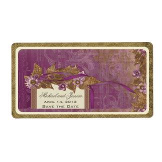 Save the Date Wedding Vintage Wine Label in Purple
