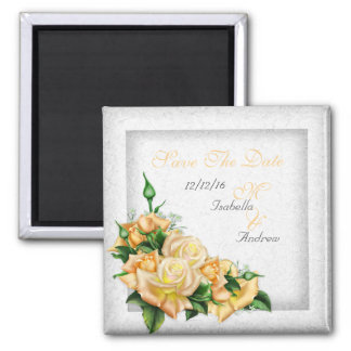 Save The Date Wedding White Gold Yellow Green Rose 2 Inch Square Magnet