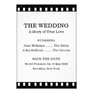 Movie Premiere themed wedding collection with film strip and bride and groom cast as leading actor and actress