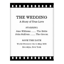 Save The Date Wedding With A Movie Film Theme Post Cards at  Zazzle