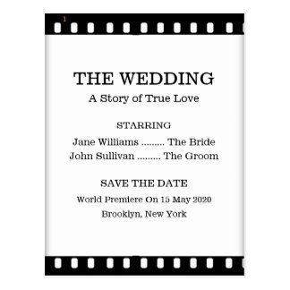 Save The Date Wedding With A Movie Film Theme Post Cards