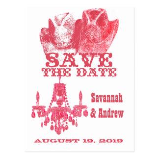 Save the Date Western Pink Cowboy Hat Chandelier Postcard