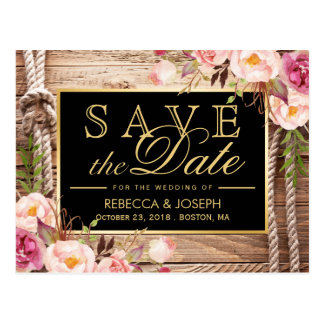 Save the Date Western Rustic Country Wood Floral Postcard