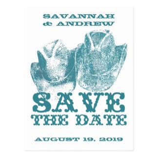 Save the Date Western Teal Cowboy Hat Weddings Post Card