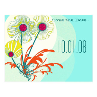 Save the Date Whimsical Flowers Bright Colors Postcards
