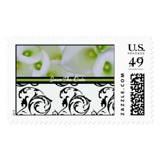 Save The Date White Cala Lily Stamp Wedding Stamp