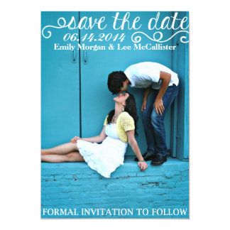 SAVE the DATE | White Curly Letters Card