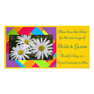 Save the Date-White Flower Photo Card