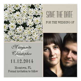 save the date white flower photo invitations