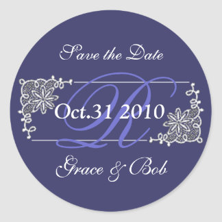 """Save the Date"" White Lace  Sticker"